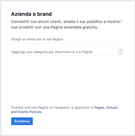 Scegli nome pagina Facebook