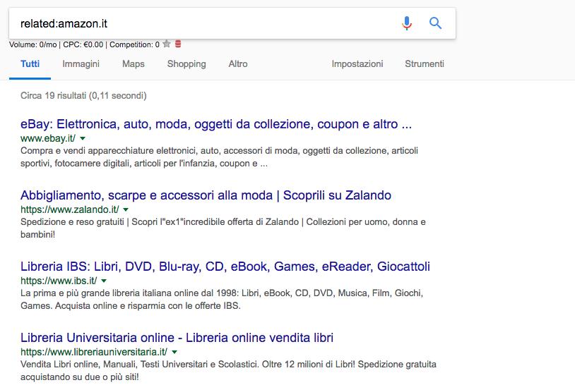 Google Footprints Cerca siti Simili - Confucionet