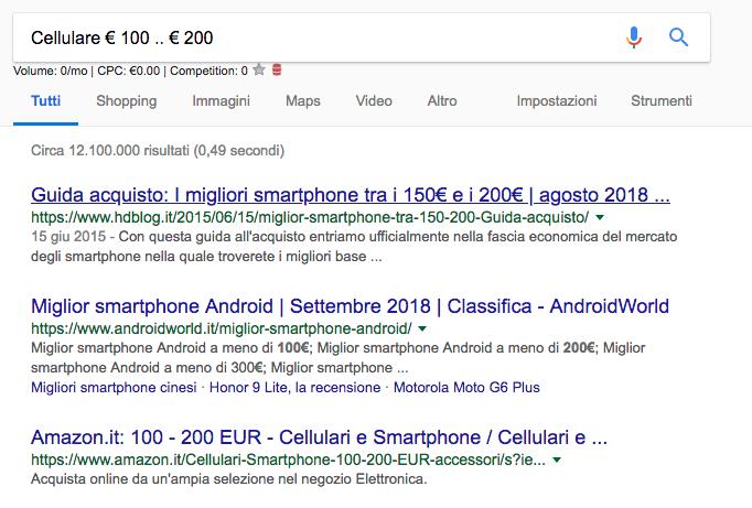 Google Footprints intervalli di numeri - Confucionet