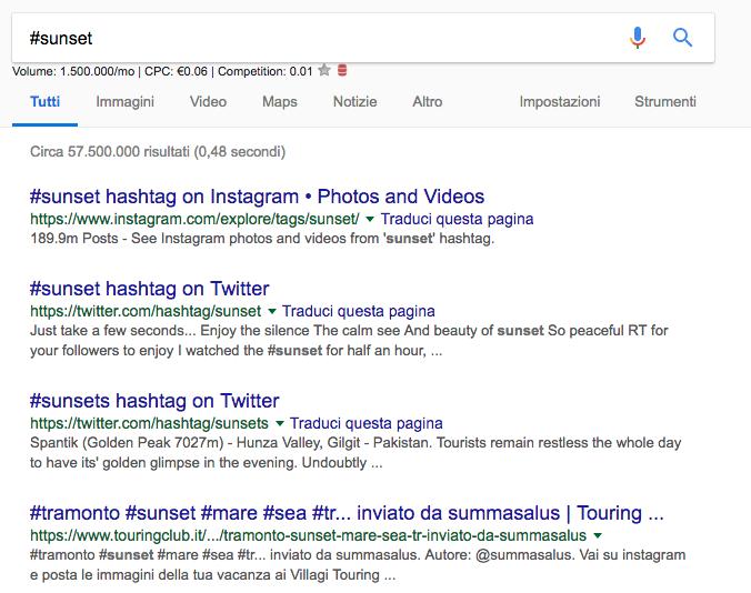 Google Footprints ricerca per hashtag - Confucionet