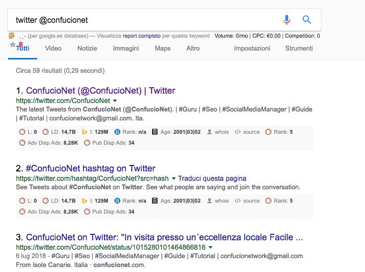 Google footprints Twitter Confucio