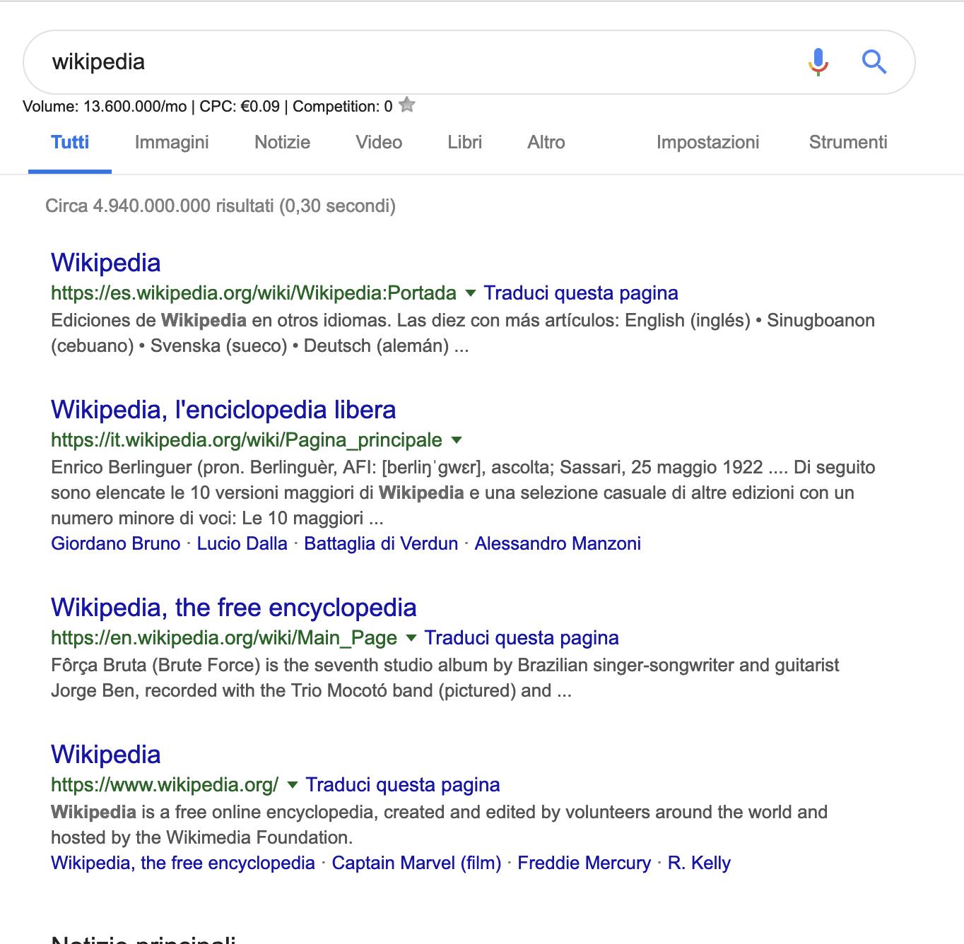 Ricerca Wikipedia