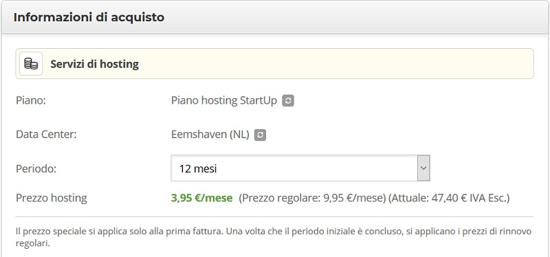 conferma acquisto hosting Siteground