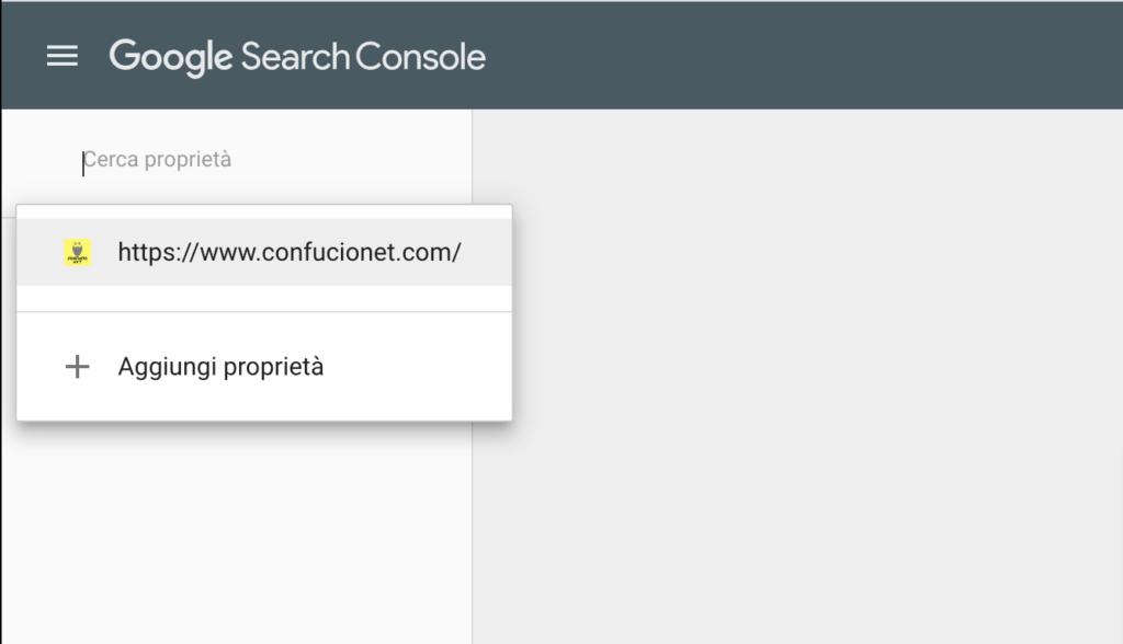 Aggiungi sito Google Search Console