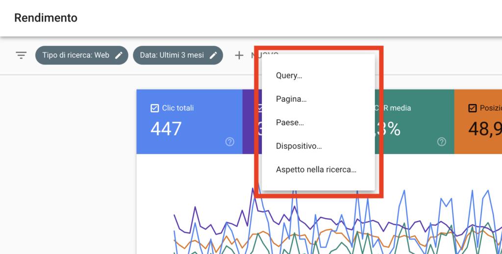 Filtri Google Search Console
