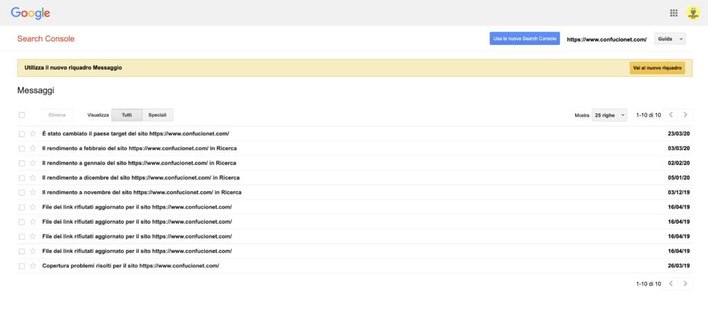 Messaggi Search Console