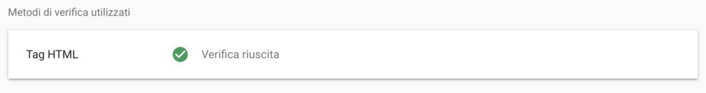 Verifica riuscita Search Console