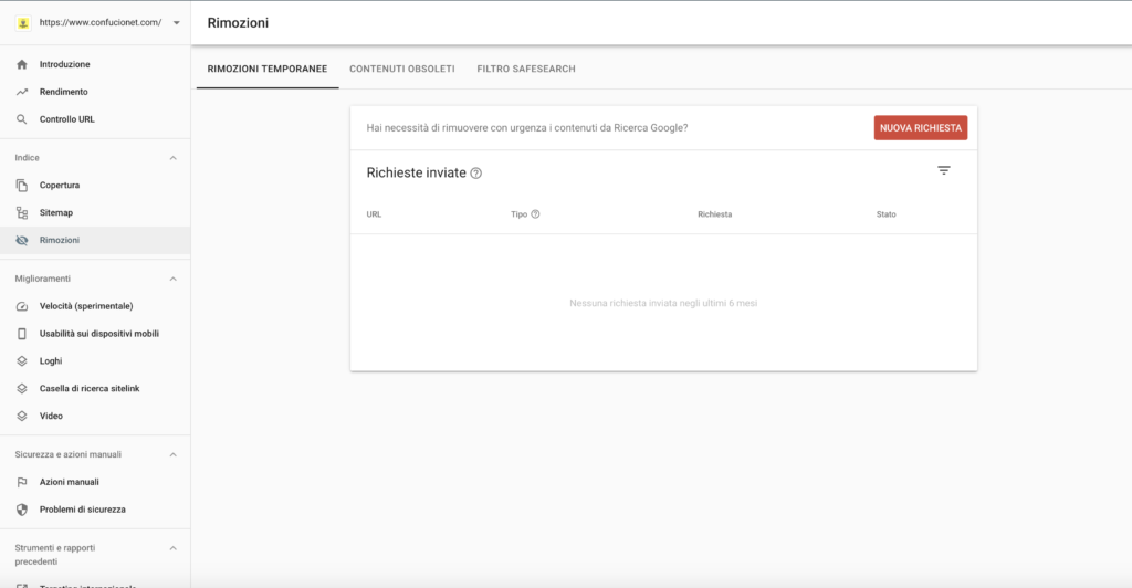 Rimozione url Search Console