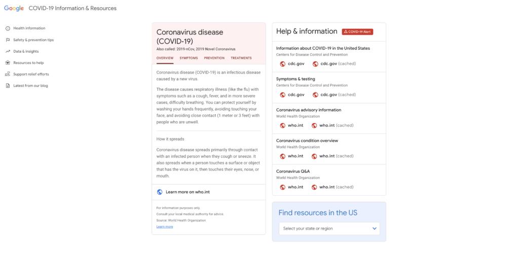Sito Coronavirus Covid 19 Google