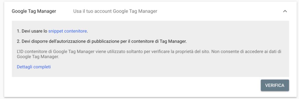 Verifica Google Tag Manager