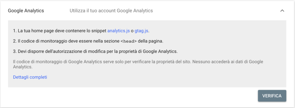 Verifica Google Analytics