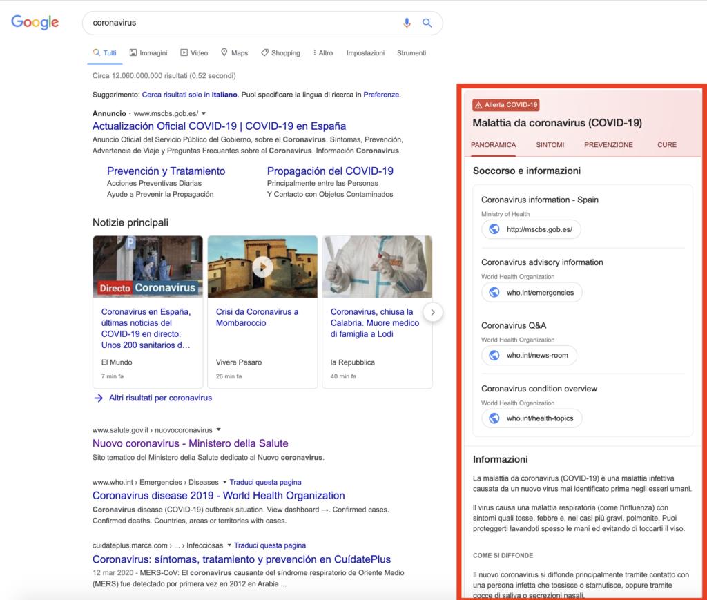 ricerca google coronavirus