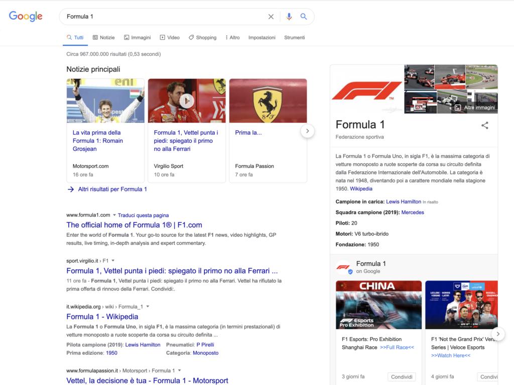 Formula 1 SERP