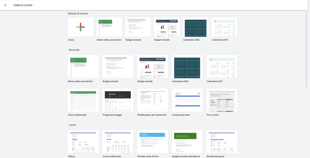 Google Sheets Modelli