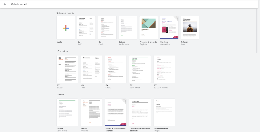 Modelli Google Docs