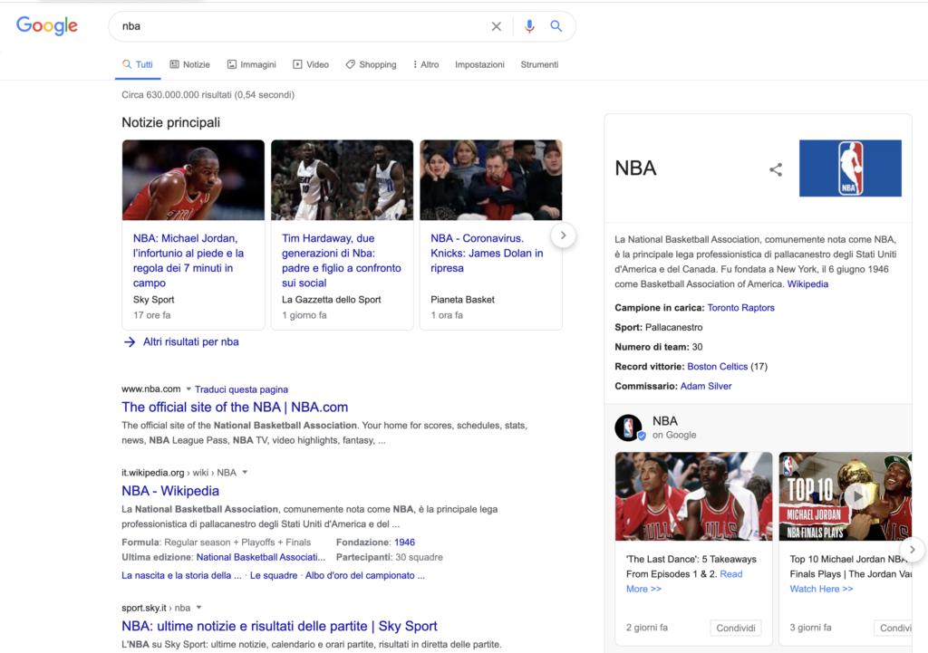 NBA SERP Covid-19