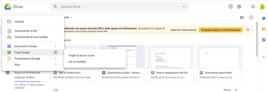 Nuovo Foglio di lavoro Google Sheets