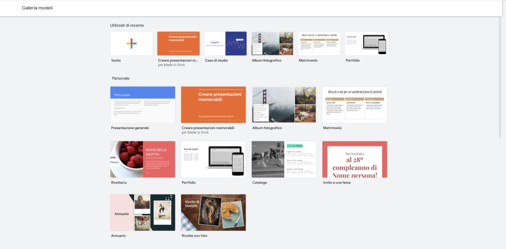 Modelli Presentazione Google