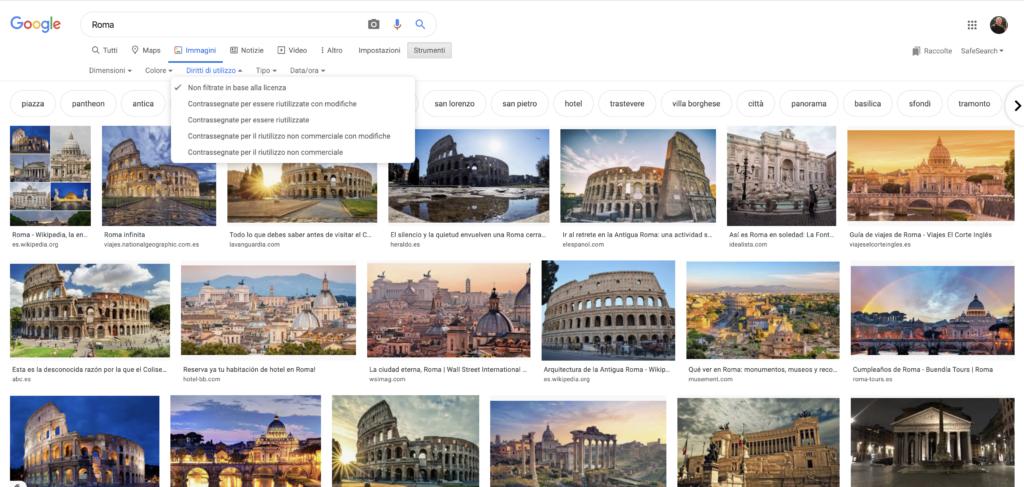 Ricerca Google Immagini diritti autore