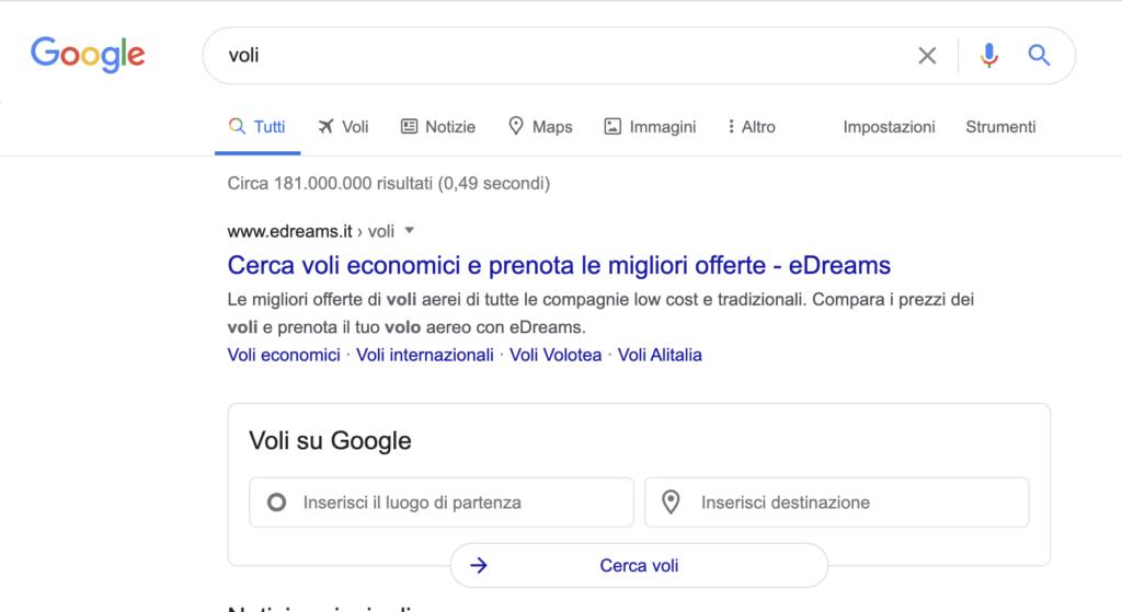 Voli su Google