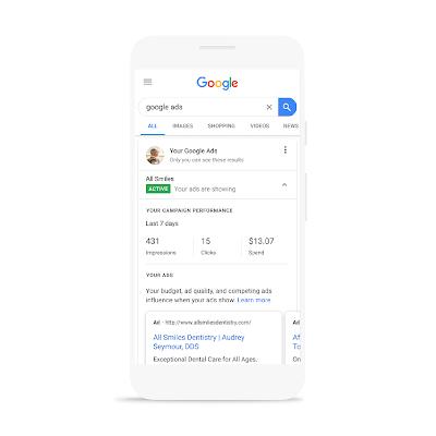 Controllo inserzione Google Cellulare