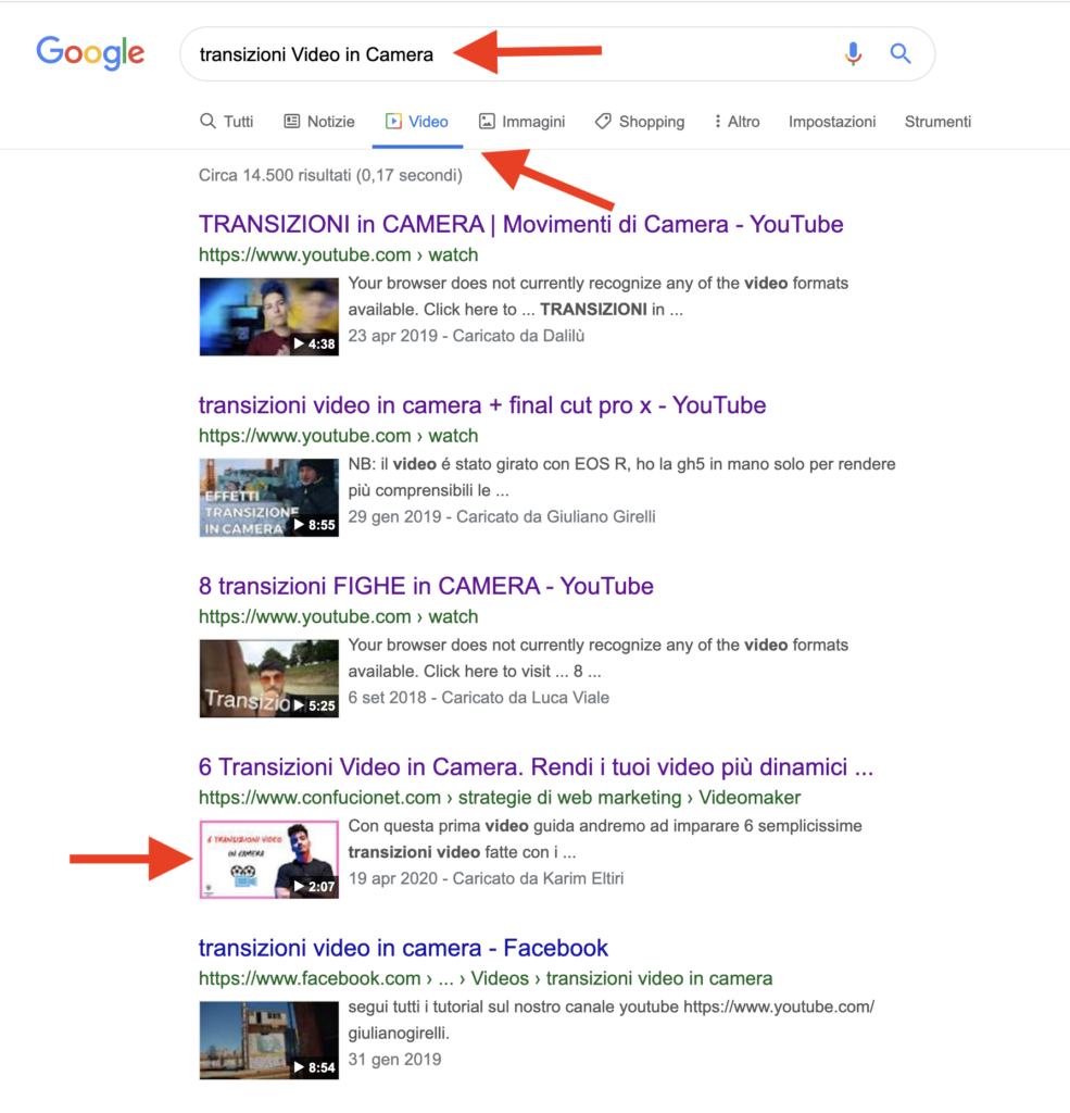 SERP Video- Transizioni in Camera