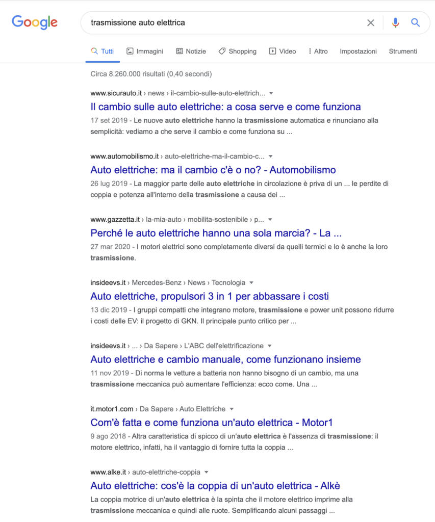 Classica SERP Google
