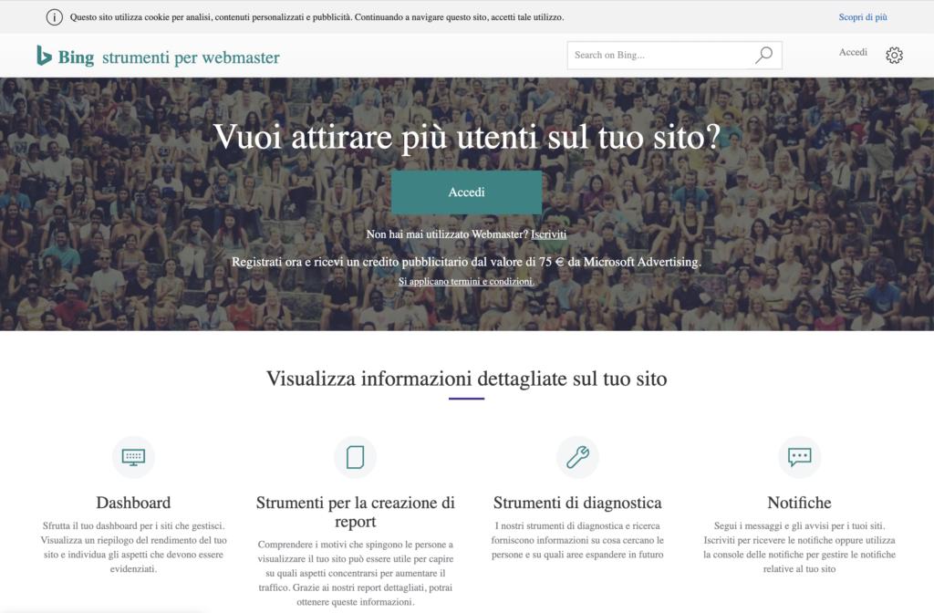 Home Strumenti Webmaster Bing