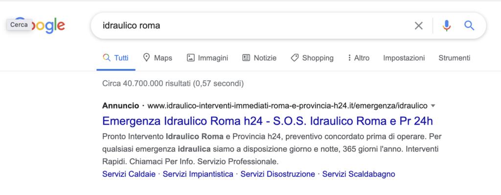 Risultato di ricerca Google ADS