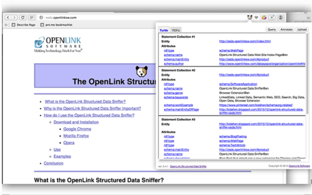 Openlink structured data sniffer (Estensione Chrome)