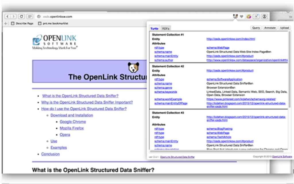 Openlink structured data sniffer (Estensione Chrome)