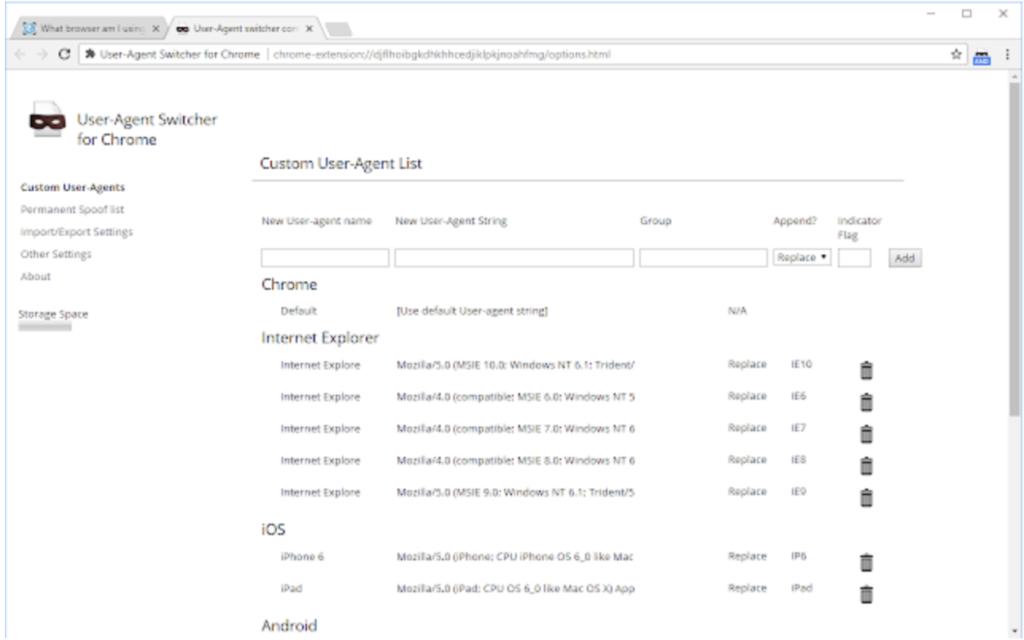 User agent switcher (Estensione Chrome)