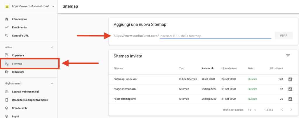 invio sitemap search console