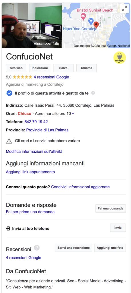 Google My Business scheda