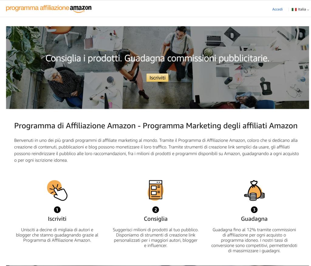Iscrizione Programma di Affiliazione Amazon