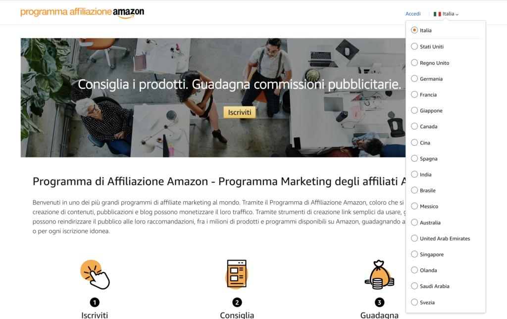 Paesi Programma Affiliazione Amazon