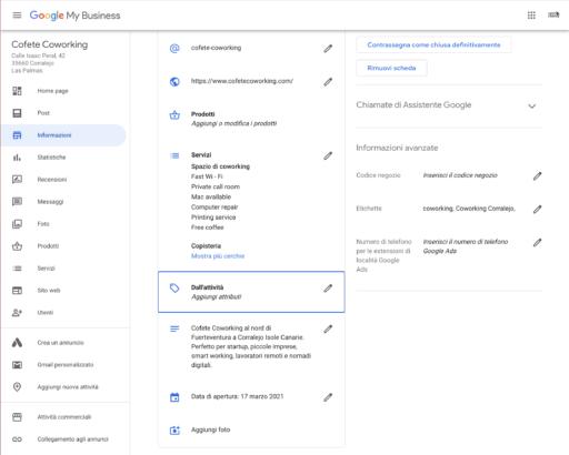 Impostazione attributi Google My Business