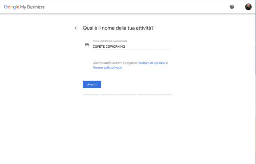 Iscrizione Nome Azienda Google My Business