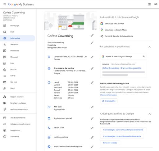 Scheda Informazioni Google My Business